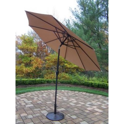 9 foot Champagne Crank-Tilt Umbrella Black Pole with Stand - 4005-CPBK-4230AB