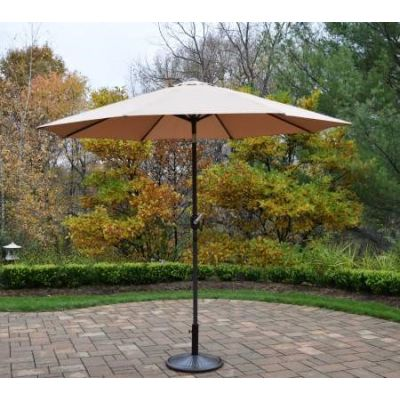 9 foot Champagne Crank Tilt Cream Umbrella Pole with Stand - 4005-CPBN-4230AB