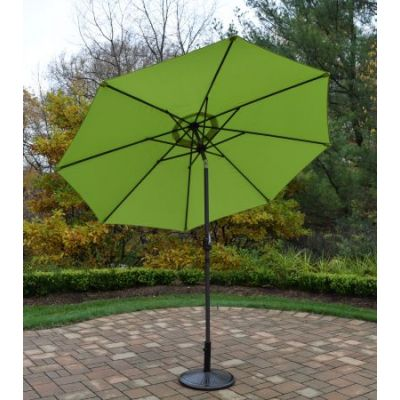 9 foot Champagne Crank Tilt Green Umbrella Pole with Stand - 4005-GNBN-4230AB