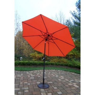 9 foot Orange Crank Tilt Umbrella Black Pole with Stand - 4005-ORBK-4230AB