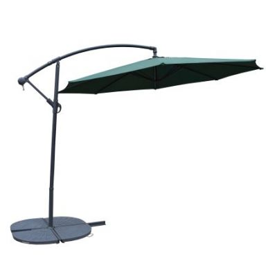10' Cantilever Green Umbrella and Grey Heavy Duty Stands - 4110GN-4226GY