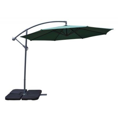 10' Cantilever Green Umbrella and Black Heavy Duty Stands - 4110GN-4238BK