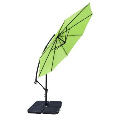 10' Cantilever Green Umbrella and 4 Piece Heavy Duty Stands - 4110LG-4238BK