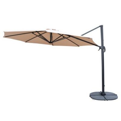 11' Cantilever Umbrella and 4 Piece Heavy Duty Stands - 4115BG-4226GY