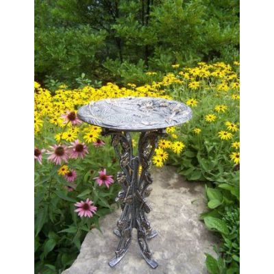 Butterfly Dragonfly Bird Bath in Antique Pewter - 5084-AP