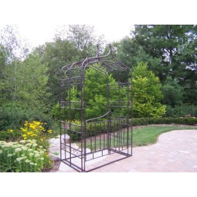 Gothic Arbor with Gate and Base in Hammer Tone Brown - 5127-HB