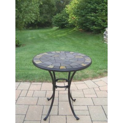Stone Art 26-inch Bistro Table with Real Stone Formation - 77103-CF