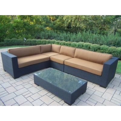Hampton 5 Piece Woven all-weather Resin Wicker Sectional set - 7718-14-D54-BK