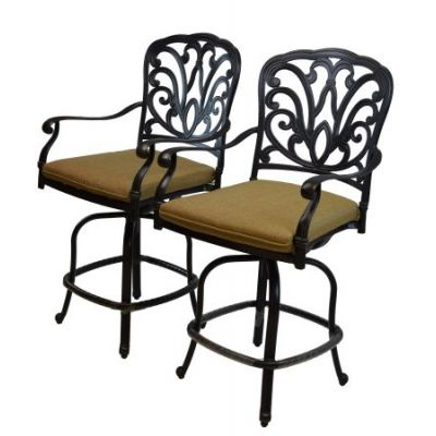 Hampton Aluminum Bar Stools with Cushions  (2 Pack) - 7720-BS2-D56-AB