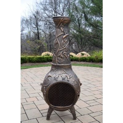 Hummingbird Cast Metal Chimenea - 8018-AB