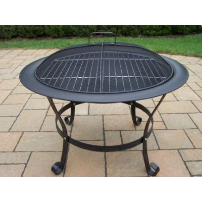 Round Fire Pit with Grill and Spark Guard Screen Lid - 8034-BK