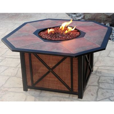 Haywood Octagon Gas Firepit Table - 8201-OCT4324-GST-AB