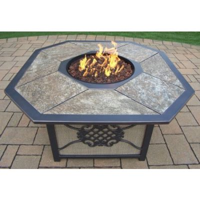 Traditional Octagon Gas Firepit Table - 8203-OCT4324-GST-GY