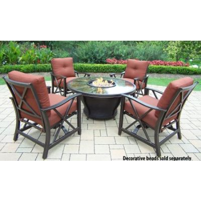 Moonlight Round Gas Firepit Table - 8205GST-8202RC4-5-AB