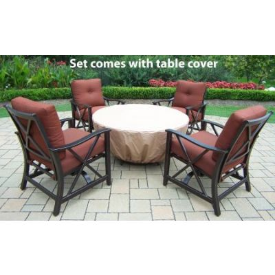 Moonlight Round Gas Firepit Table - 8205GST-8202RC4-8210GB-6-AB