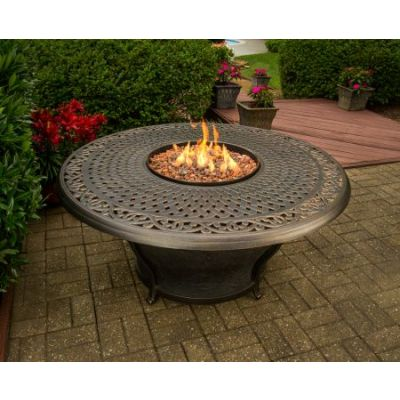 Charleston Round Gas Firepit Table - 8206-RD48-GST-AB