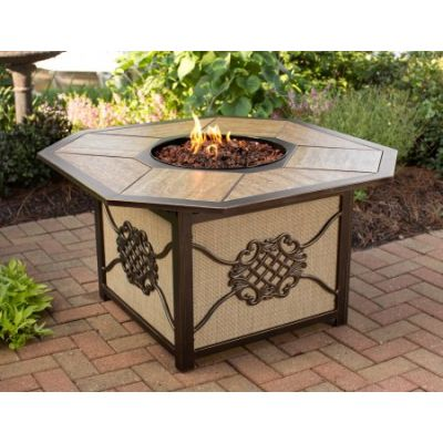 Heritage Octagon Gas Firepit Table - 8211-OCT4324-GST-AB
