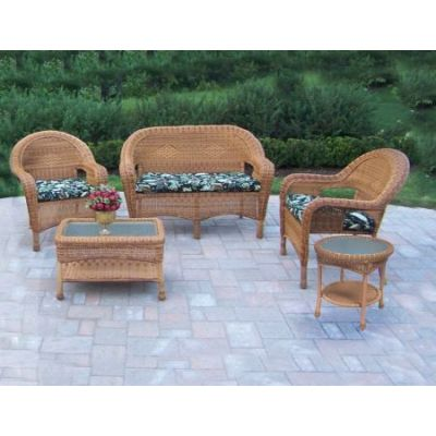 Resin Wicker 5 Piece Seating Set - 90027-5-BF-NT