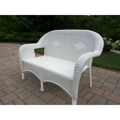 Resin Wicker Loveseat in White - 90027-L-WT