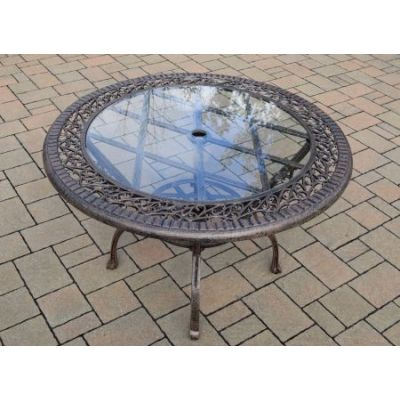 Cast Aluminum 48-inch Round Patio Dining Table Glass Top - Part-2016-T-AB
