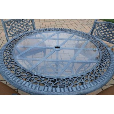 Cast Aluminum 48-inch Round Patio Dining Table Glass Top - Part-2016-T-VG