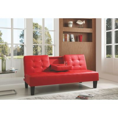 Red Sofa Bed With Cup Holder - G142-S
