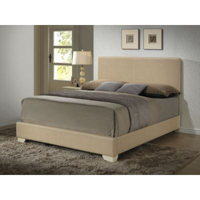 Bob's King Faux Leather Bed in Beige - G1875-KB-UP