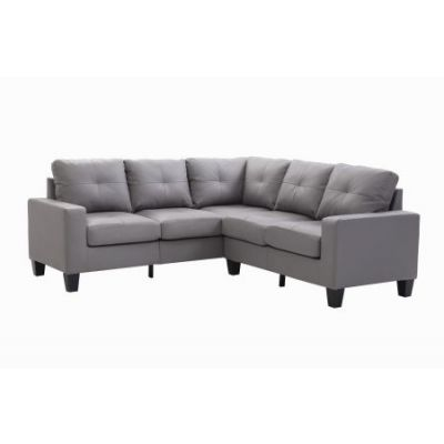 Columbus Sectional Sofa In Gray Faux Leather - G461B-SC