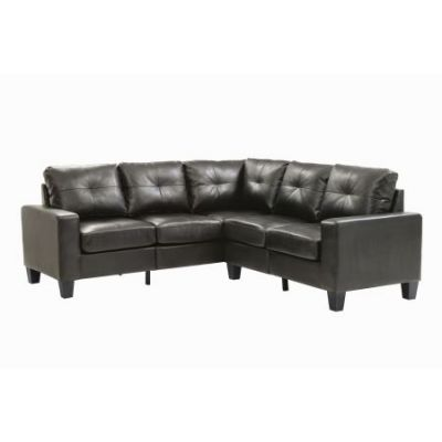 Columbus Sectional Sofa In Black Faux Leather - G463B-SC