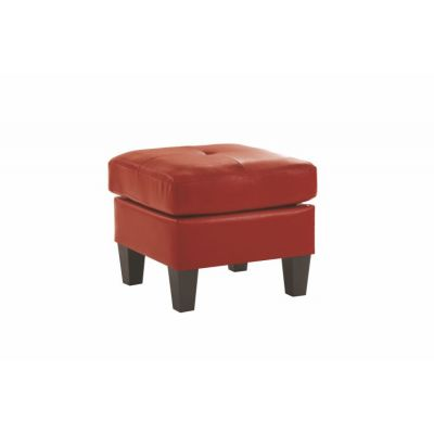 Ottoman in Red Faux Leather - G465-O