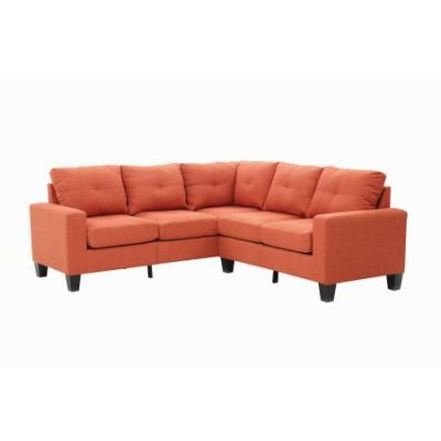 Columbus Sectional Sofa In Orange Twill Fabric - G473B-SC