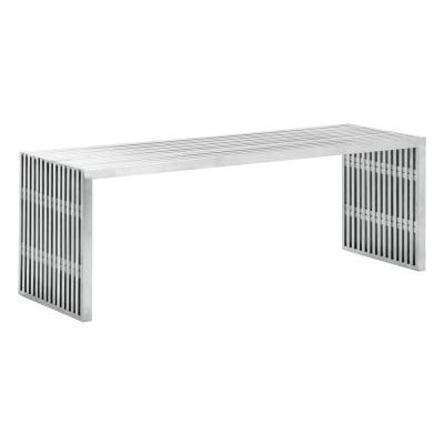 Modern Novel Double Bench in Stainless Steel - 100081