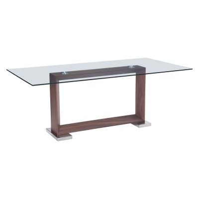 Oasis Glass Dining Table in Walnut and Veneer Finish