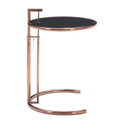 Eileen Glass End Table with Steel Frame in Rose Gold - 100339