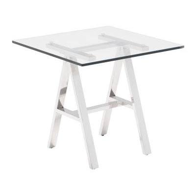 Lado Glass Stainless Steel End Table in Chrome - 100359
