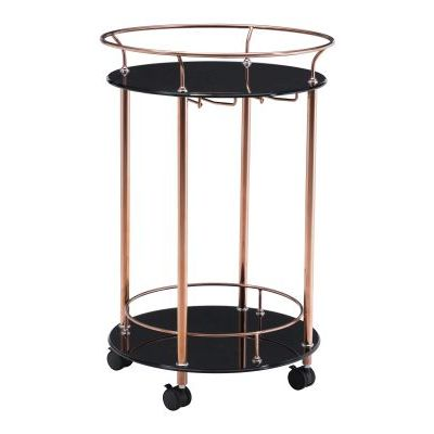 Plato Glass Kitchen Cart in Rose Gold - 100366