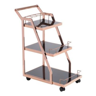 Acropolis Glass Kitchen Cart in Rose Gold - 100368