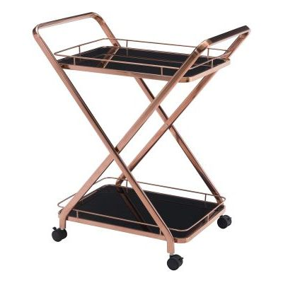 Vesuvius Glass Kitchen Cart in Rose Gold - 100370