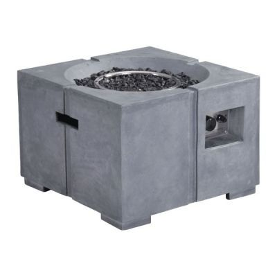 Dante Propane Steel and Rock Fire Pit in Gray - 100412