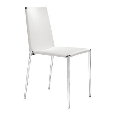 Alex Dining Chair White Leatherette Chromed Steel - 101106