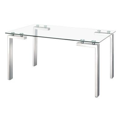 Roca Glass Dining Table with Stainless Steel Finish