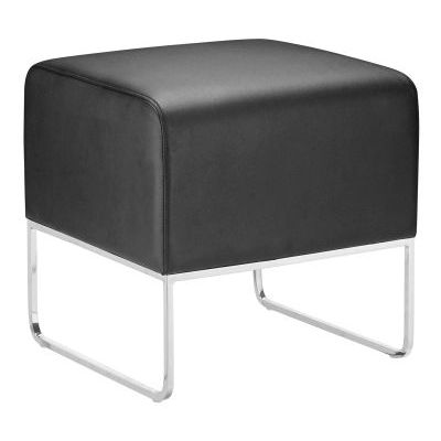 Plush Leatherette Ottoman in Black - 103003