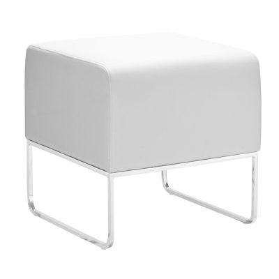 Plush Leatherette Ottoman in White - 103004