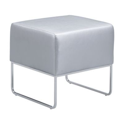 Plush Leatherette Ottoman in Silver - 103008