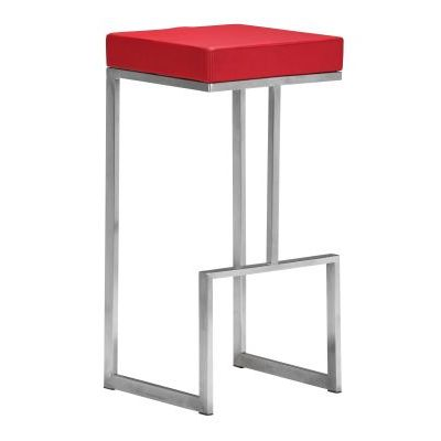 Darwen Modern Leatherette Bar Chair in Red - 300047