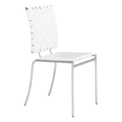 Modern Criss Cross Dining Chair in White - 333011
