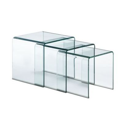 Explorer Clear Glass Nesting Table - 404104