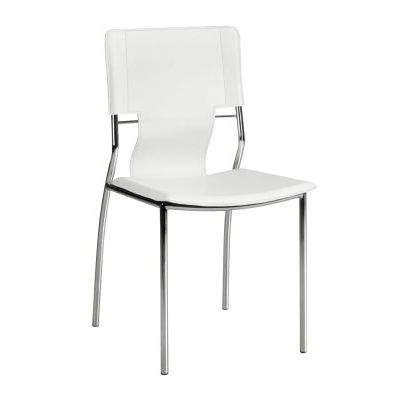 Trafico Dining Chair with Leatherette Seat in White - 404132