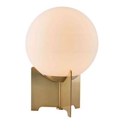 Pearl Table Lamp White & Brushed Bronze - 56049