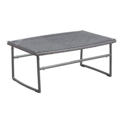 Ingonish Beach Glass Top Aluminum Coffee Table in Gray - 703531